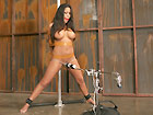 Bound and gagged slavewoman with clamps in her tits